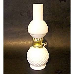 Hobnail Ptn Milk Glass Mini Oil Lamp