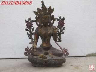 18Tibetan pure Bronze coloured decoration Green TaRa Quan yin Buddha