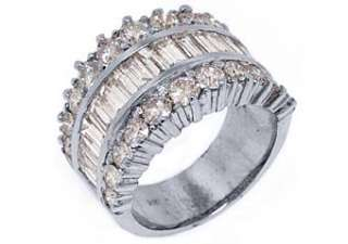 68 CARAT WOMENS BAGUETTE ROUND CUT DIAMOND RING WEDDING BAND WHITE