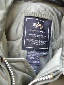 ALPHA INDUSTRIES CWU 45 P PILOT FLIGHT JACKET SAGE XL