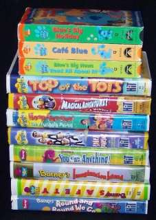 Wiggles, Blues Clues & Barney & Friends Lot of 11 VHS Tapes Kids FREE