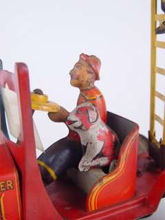 MARX Snoopy & Gus, Hook & Ladder Tin Wind up Fire Truck