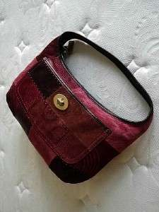 COACH Ergo RED BURGUNDY Pierced Patchwork Leather Suede Hobo Bag Purse
