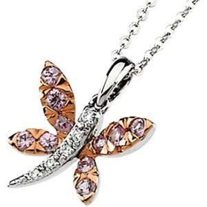 14k Wht Gold Rose Rhodium Pink Sap. Diamond Necklace .04ct