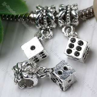6mm Tibetan Silver Dice European Beads Fit Charm 5x