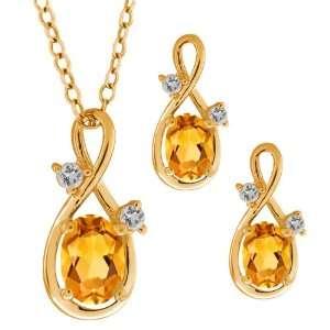48 Ct Oval Yellow Citrine Gemstone 10k Yellow Gold Pendant Earrings
