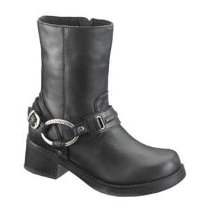 Harley Davidson Christa Womens Leather Ankle Boots Black D85298 All