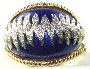 VTG 18K GOLD ENAMEL DIAMOND DOME RING SIZE 10