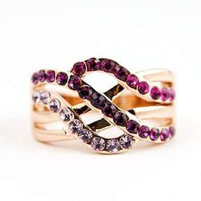 WAVE~ Cocktail Ring with Swarovski Pink Purple Clear Crystal