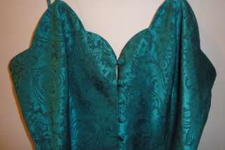 Victorias Secret Teal Green Satin Paisley Chemise Nightgown Nightie