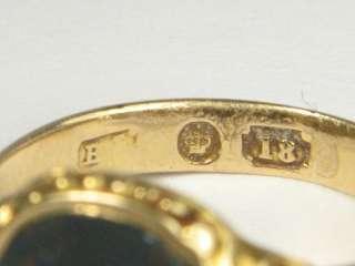 ANTIQUE ENGLISH 18K GOLD BLOODSTONE SEAL SIGNET RING c1894 NO RES