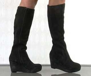 Steve Madden Ashleey grey Suede Platform Wedge Boots