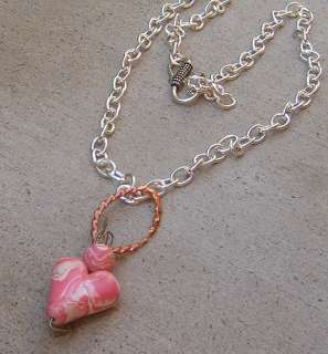 PINK HANDMADE SWIRL WHITE HEART POLYMER CLAY PENDANT NECKLACE SILVER