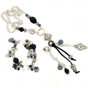 Metal Glass Bead Necklace Bracelet Set Charm Heart Black Silvertone By