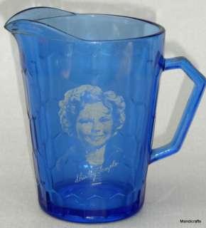 1935 SHIRLEY TEMPLE Cobalt Blue GLASS Milk PITCHER Jug Creamer |
