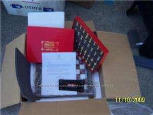 Coca Cola FRANKLIN MINT Coke GLASS CHESS Set 24K LTD NIB GOLD