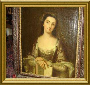 LADY PORTRAIT WITH BOOK Lewis Theobald Shakespeare OIL PAINTING
