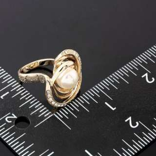 Arinna Swarovski Crystals pearl Gold GP fashion Rings