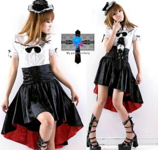 Gothic SATIN Retro Victorian Corset Satin Sword Skirt
