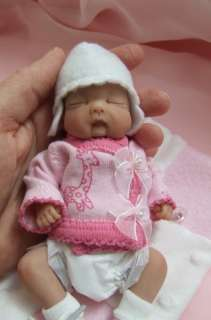 OOAK Sculpted Baby Girl Polymer Clay Art Doll Collectible Poseable