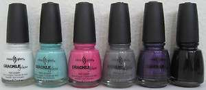 CHINA GLAZE CRACKLE 6 Polish Set~Lightning/Candy/Heart/Concrete/Fault
