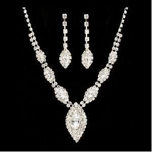 Bridal Wedding Jewelry Set Necklace Earring Crystal Rhinestone Navette