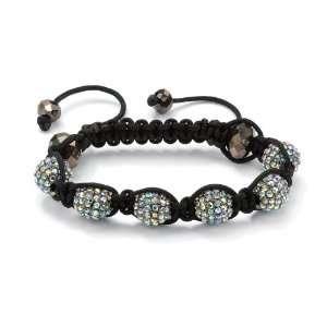 Macrame Rope Aurora Borealis Crystal Ball Adjustable Bracelet Jewelry