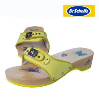 DR SCHOLL PESCURA GREEN CANVAS WOOD SANDALS EU 40 UK 7