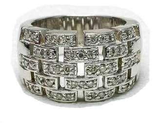 Estate 14k White Gold & Diamond Wide Ladies band ring