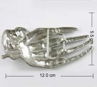 Western Fashion Evil Skull Skeleton Bone Metall Buckle + Leather Belt
