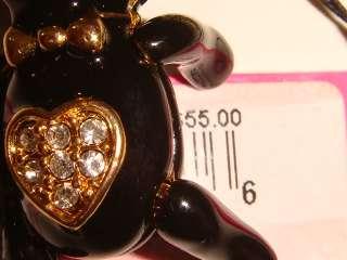 New Betsey Johnson Panda Teddy Bear Charm Necklace + Box