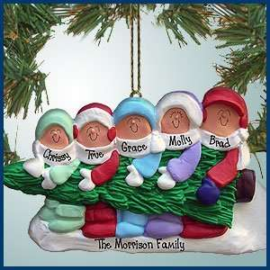 Personalized Christmas Ornaments   Family Carrying Christmas Tree