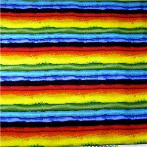 Bright Saucy Southwestern Stripe Red, Blue, Yellow, Green Cotton