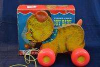 Vintage 1967 FISHER PRICE CRY BABY BEAR Pull Toy In Box