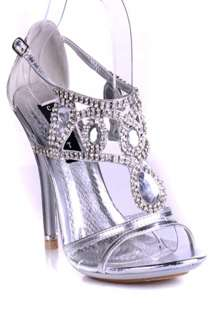 SILVER 10 PATENT LEATHER TEARDROP RHINESTONE STYLE HIGH HEELS SHOES