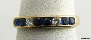 46ctw SAPPHIRE & DIAMOND Wedding BAND 14k Yellow Gold