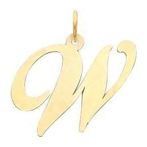 Fancy Cursive Letter W Charm 14K Gold: Jewelry