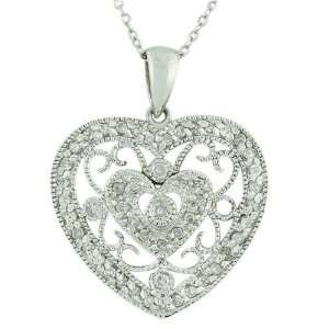 10K White Gold Womens Diamond Heart Pendant Necklace