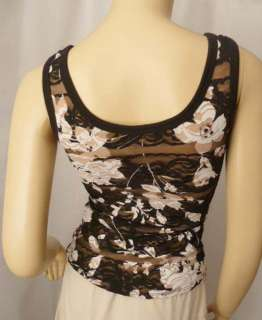 Cache Black Brown Stretch Floral Mesh Lace Tank Top XS