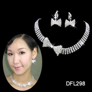 edding/Bridal Rhinestone crystal necklace earring set TL0298