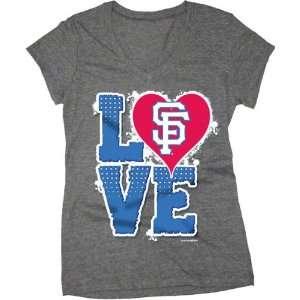 San Francisco Giants Charcoal Girls Tri Blend V Neck T Shirt