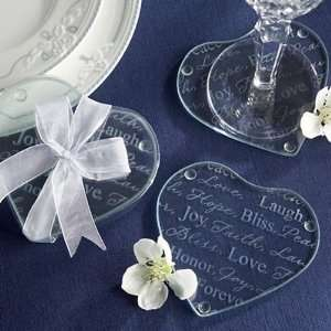 Good Wishes Heart Glass Coasters   Set of 12 Kitchen