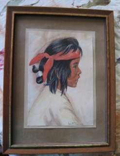 AMERICAN INDIAN BOY WATERCOLOR PAINTING~ARTIST SIGND~DAUGHERTY~LISTED
