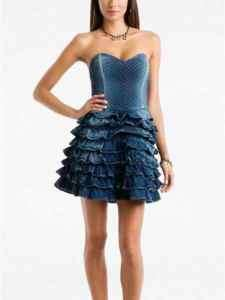 GUESS DENIM MELIA CORSET TOP RUFFLE SKIRT DRESS