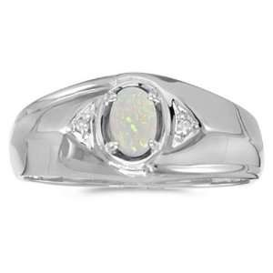 14k White Gold October Birthstone Oval Opal And Diamond