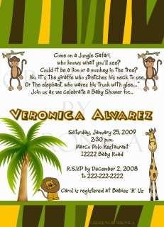 Baby Shower Jungle Safari Invitation Digital U Print