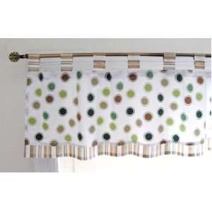 Tab 18 Inch Length By 60 Inch Width Cotton Window Valance, Green Blue