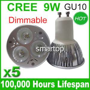 5x Dimmable CREE LED GU10 9W Warm White&Cool White Light Bulb Lamp 110