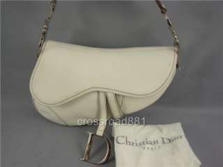 Auth Christian Dior White Leather Saddle Bag Great