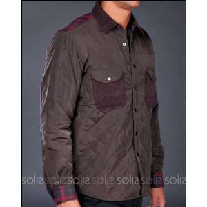 Shades of Grey   Mens Quilted Nylon Shirt Jacket in Army